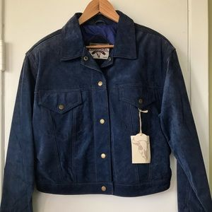 Blue Suede Leather Trucker Jacket Men's or women's